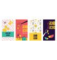jewish new year rosh hashanah greeting card set vector image vector image