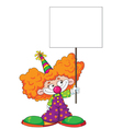 kid clown with blank sign vector image vector image
