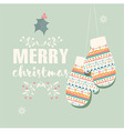Merry Christmas postcard with mittens vector image
