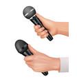 microphones in hands interviewer equipment news vector image vector image