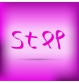 Pink ribbon inscription stop vector image