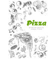 pizza line banner engraved style doodle vector image vector image