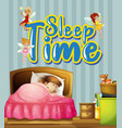 poster design with little girl sleeping in bed vector image vector image