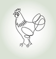 Rooster in minimal line style vector image vector image
