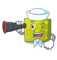 sailor with binocular square mascot cartoon style vector image vector image
