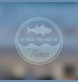 seafood emblem eith fish on blured backdrop vector image vector image