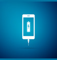 smartphone battery charge icon on blue background vector image vector image