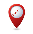 Syringe icon on red map pointer vector image vector image