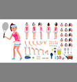 tennis player female animated character vector image vector image