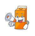 with megaphone package juice character cartoon vector image vector image