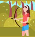 woman archer holding bow arrow landscape vector image vector image