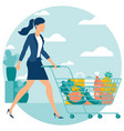 woman at supermarket with shopping cart vector image