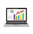 Statistic analysis on modern laptop screen vector image