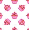 Watercolor tasty cupcake in vintage style vector image