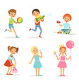 happy children playing with funny toys on vector image