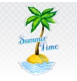 Vocation background with palm tree on island vector image