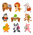 baby animals carrying books and studying at school vector image vector image