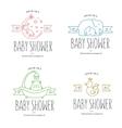 bashower hand drawn invitations set vector image