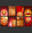 basketball poster set empty template vector image vector image