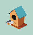 birdhouse with post bird isometric vector image