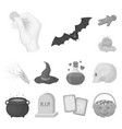 black and white magic monochrome icons in set vector image