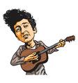 Bob Dylan Playing Guitar Cartoon vector image vector image