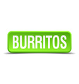 burritos green 3d realistic square isolated button vector image