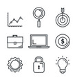 business success set icons vector image vector image
