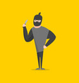 cartoon bandit character on a yellow background vector image vector image