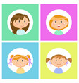 children girls with face expressions isolated set vector image