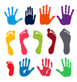 Colored generation hand and foot prints vector image vector image