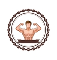colorful border with half body muscle man and vector image