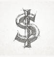 dollar sign hand drawn sketch on grunge vector image