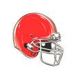 drawing american football helmet in vector image vector image