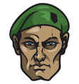 face of experienced soldier vector image vector image