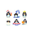 flat set cute penguins south polar bird vector image