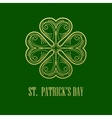 Golden Shamrock Patrick day simbol vector image