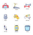 good physical condition icons set cartoon style vector image
