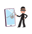 hacker and giant phone smartphone with padlock vector image