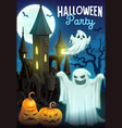 halloween ghosts with pumpkins and haunted house vector image vector image
