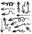 hand drawn arrow icon set isolated on white vector image