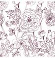 hand drawn vintage outline floral seamless pattern vector image vector image