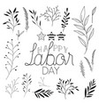 happy labor day label with leafs and stars vector image vector image