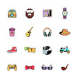 Hipster style comics icons set cartoon