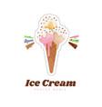 ice cream sticker or badge color vanilla ice vector image vector image