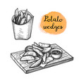 ink sketch potato wedges vector image