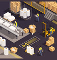 isometric paper production composition vector image vector image