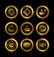 kitchen plates and cutlery golden silhouette icons vector image