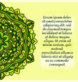 leaflet with a green mandala pattern and ornament vector image