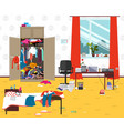 messy room where young lady lives teenager or vector image